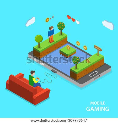 Mobile gaming flat isometric concept. A man is playing mobile game  sitting on the sofa. - stock photo