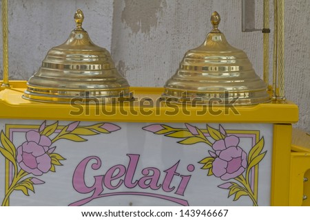 mobile ice cream shop with a nostalgic look - stock photo