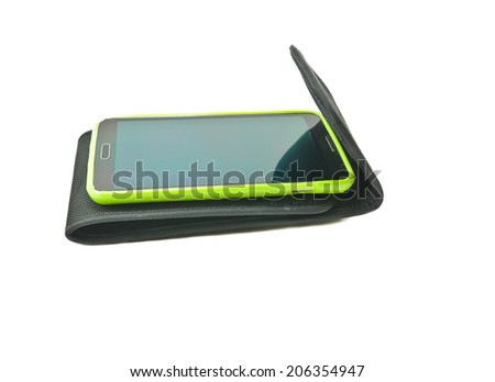 Mobile in holster on white background - stock photo