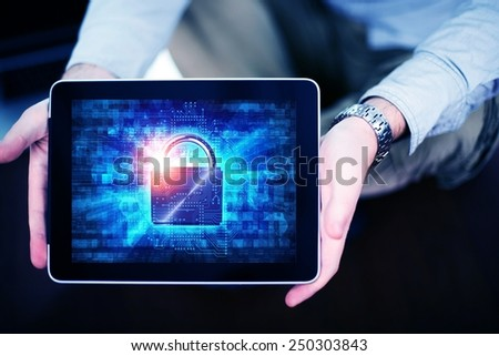 Mobile Internet Safety Concept with Men Showing Tabled Computer with Padlock Security Illustration. Mobile Internet Using and User Protection. - stock photo