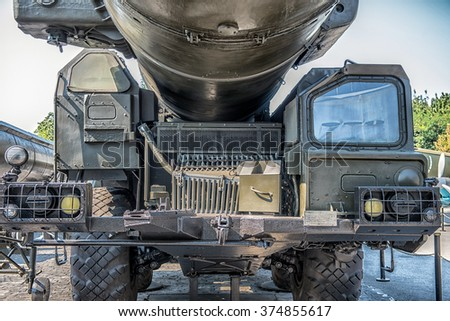 Mobile launcher of the strategic missile system RSD-10 Pioneer (SS-20. Saber) - stock photo