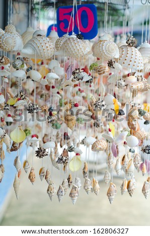 Mobile made from various shells for sale in Phuket,Thailand - stock photo