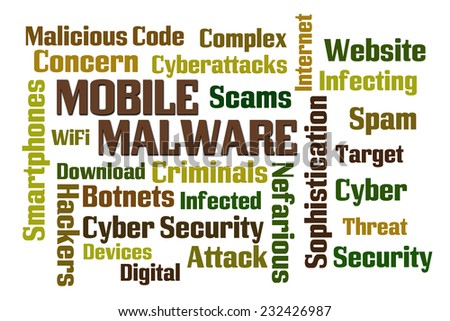 Mobile Malware word cloud on white background - stock photo