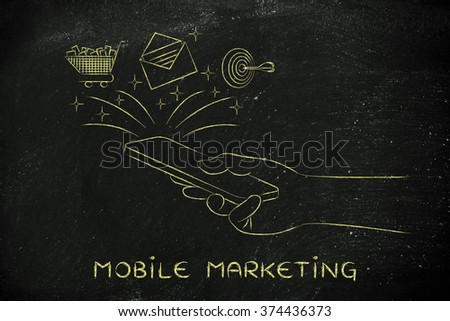 mobile marketing: smartphone with email, shopping cart & target coming out of the screen - stock photo