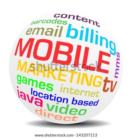 mobile marketing word sphere - stock photo
