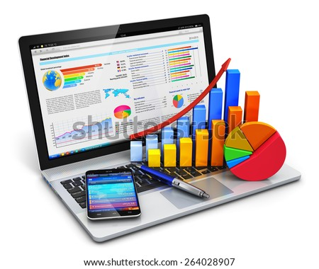 Mobile office, stock exchange market, accounting, financial development and banking business concept: laptop with stock market application, bar chart, pie diagram, pen and smartphone isolated on white - stock photo