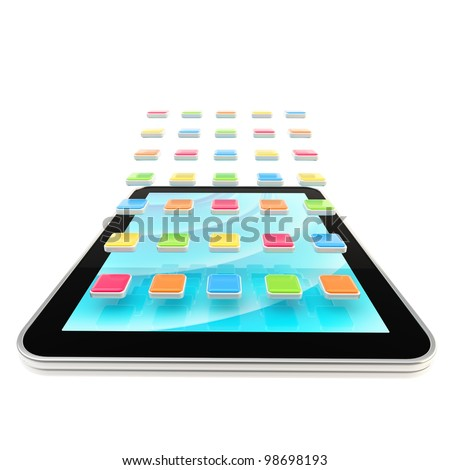Mobile pad computer with application empty icons isolated on white - stock photo