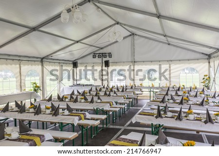 Mobile Party tent waiting for his guests - stock photo