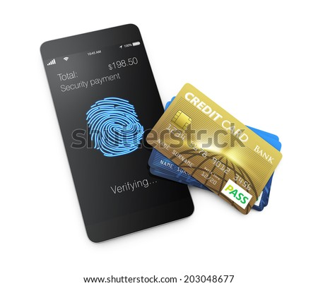 Mobile payment in security mode concept.  - stock photo