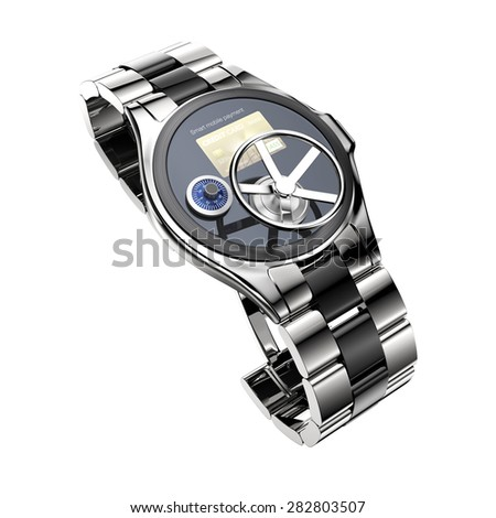 Mobile payment security concept for smart watch. Clipping path available. - stock photo
