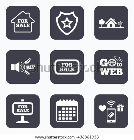 Mobile payments, wifi and calendar icons. For sale icons. Real estate selling signs. Home house symbol. Go to web symbol. - stock photo