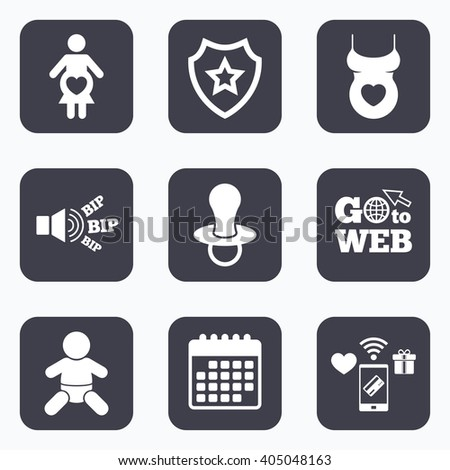 Mobile payments, wifi and calendar icons. Maternity icons. Baby infant, pregnancy and dummy signs. Child pacifier symbols. Shirt with heart. Go to web symbol. - stock photo