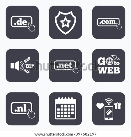 Mobile payments, wifi and calendar icons. Top-level internet domain icons. De, Com, Net and Nl symbols with hand pointer. Unique national DNS names. Go to web symbol. - stock photo