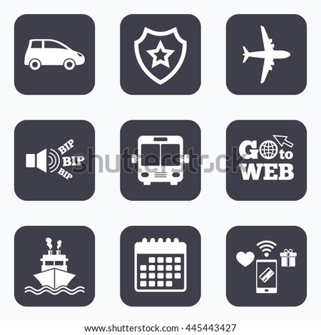 Mobile payments, wifi and calendar icons. Transport icons. Car, Airplane, Public bus and Ship signs. Shipping delivery symbol. Air mail delivery sign. Go to web symbol. - stock photo