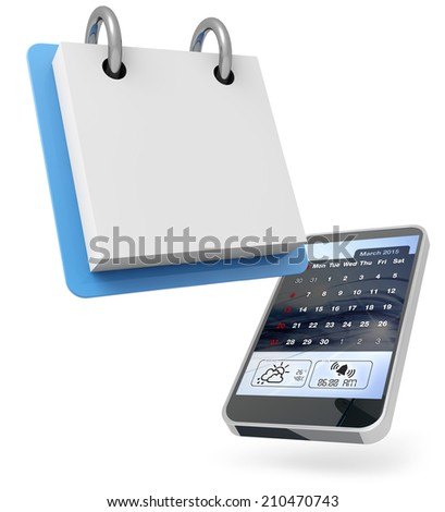 mobile phone and blank calendar on white background - stock photo