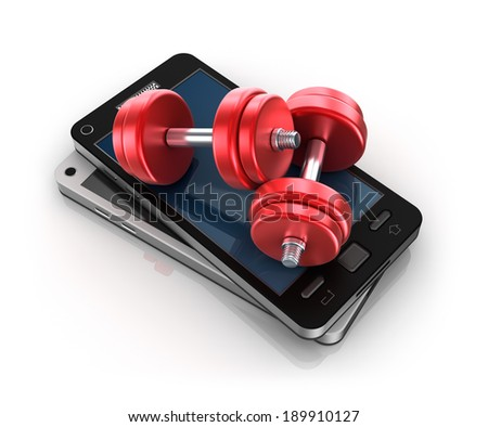 Mobile phone and Dumbbells , 3D concept - stock photo