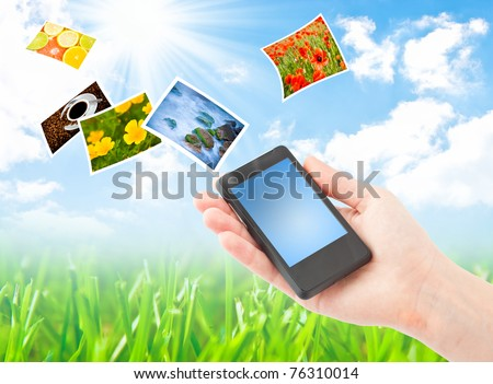 Mobile phone and hand. Communication concept. Collage - stock photo