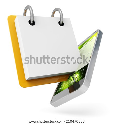 mobile phone and ring binder on white background - stock photo