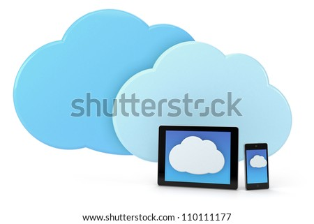mobile phone and tablet with cloud icon - high quality 3d illustration - stock photo