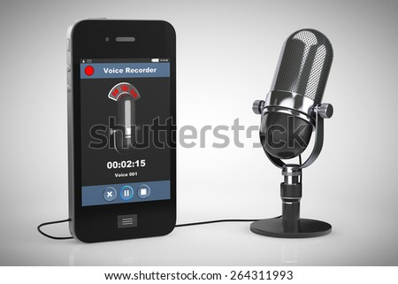 Mobile Phone as Voice Recorder with Microphone on a white background - stock photo