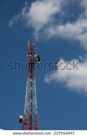 Mobile phone communication antenna tower - stock photo