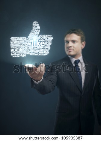 Mobile phone content in hand of businessman - stock photo
