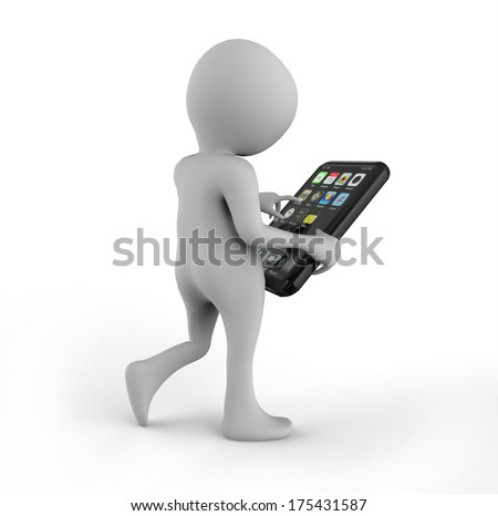 Mobile Phone. 3D Little Human Character - stock photo