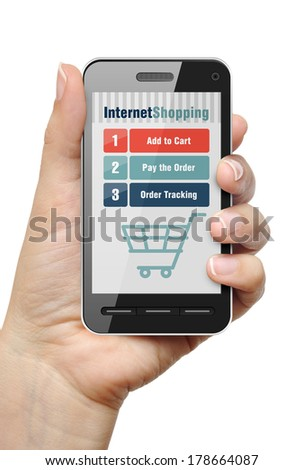 Mobile phone in female hand with internet shop app - stock photo
