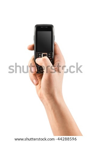 mobile phone in human hand - stock photo