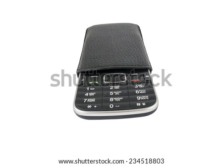 Mobile phone  in leather case isolated on white background - stock photo