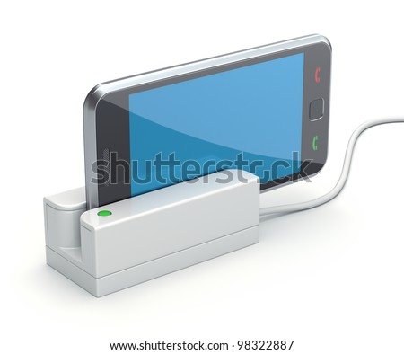 Mobile phone in the card reader - stock photo