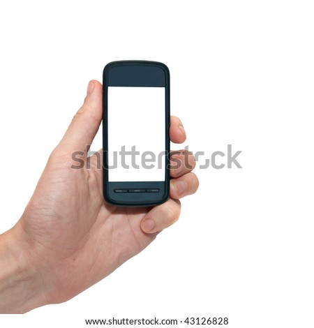 Mobile phone in the hand with copyspace isolated on white - stock photo