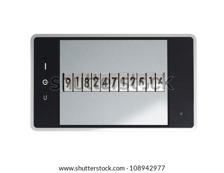Mobile phone is locked password - stock photo