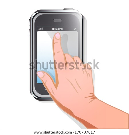 mobile phone isolated on white background, hand icon cursor, touch screen gesture, interface raster - stock photo