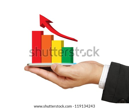 Mobile phone screen with graph on business hand isolated on white - stock photo