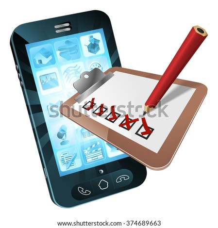 Mobile phone survey concept of a clipboard with ticks and crosses flying out of a mobile phone - stock photo