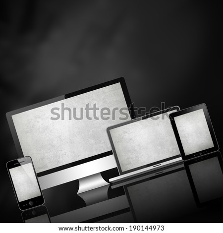 Mobile phone, tablet pc, laptop and computer  - stock photo