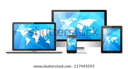 Mobile phone, tablet pc, notebook and computer - stock photo