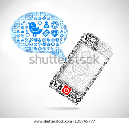 Mobile phone text message balloons made of icons - stock photo