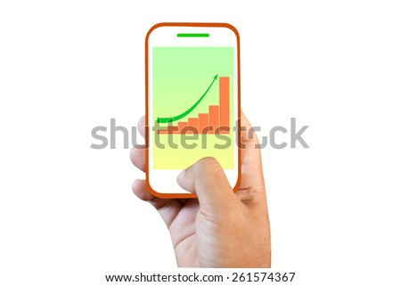 Mobile phone touch screen high graph - stock photo