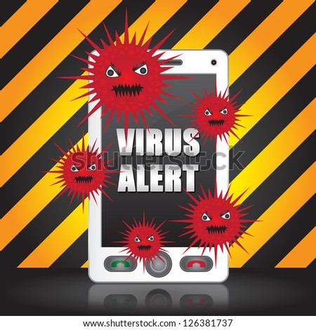 Mobile Phone Virus Concept Present By White Smart Phone With Red Virus and Virus Alert Text on Screen in Caution Zone Dark and Yellow Background - stock photo