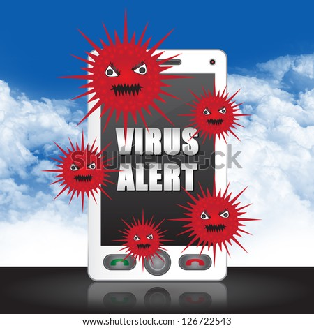 Mobile Phone Virus Concept Present By White Smart Phone With Red Virus and Virus Alert Text on Screen in Blue Sky Background - stock photo