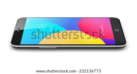Mobile phone wireless communication technology and mobility business office concept: colorful modern metal black glossy touchscreen smartphone with color screen interface isolated on white background - stock photo