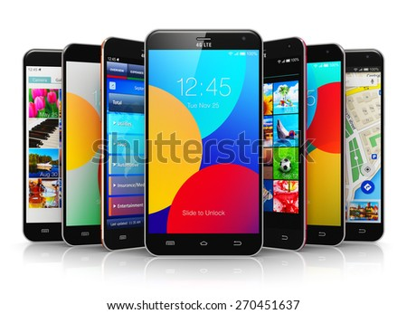 Mobile phone wireless communication technology and mobility business office concept: group of smartphones with colorful application interfaces with color icons and buttons isolated on white background - stock photo