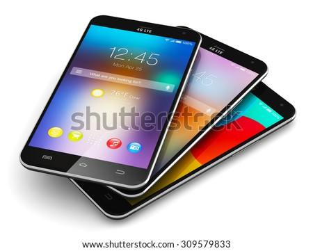 Mobile phone wireless communication technology and mobility business office concept: modern smartphones with colorful application interface with color app icon and buttons isolated on white background - stock photo