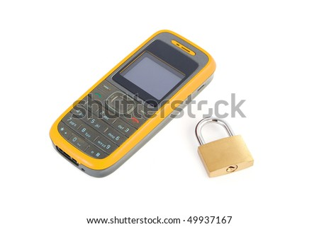 Mobile phone with a lock on a white background - stock photo