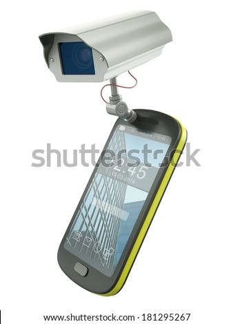 Mobile phone with CCTV camera - electronic devices as surveillance tools metaphor. 3D rendered illustration. - stock photo