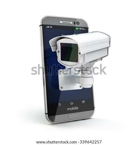 Mobile phone with CCTV camera. Security or privacy concept. 3d - stock photo