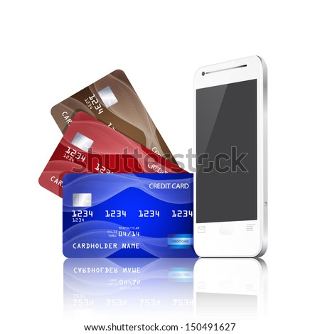 Mobile phone with credit cards. Mobile payment concept. Raster version. - stock photo