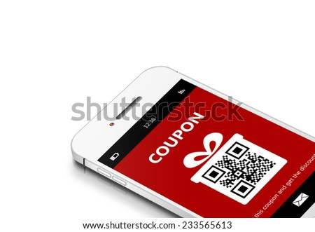 mobile phone with discount coupon isolated over white background - stock photo